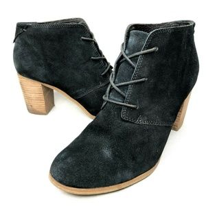 Toms Black Suede Heeled Booties Lace Up Wooden